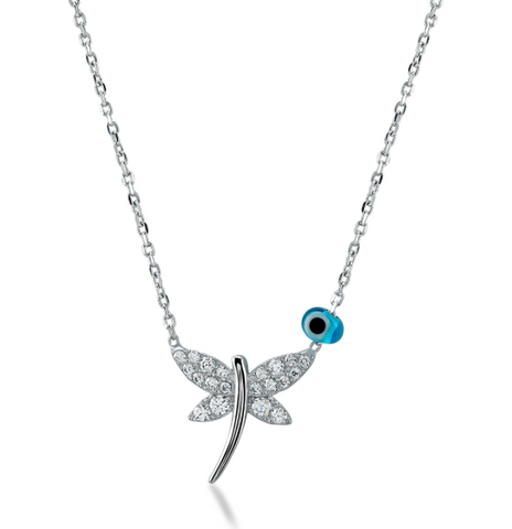 Dragonfly CZ 24K White Gold Necklace