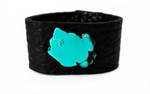 Turquoise Leather Wide Cuff