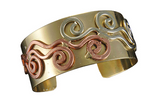 Swirl Narrow Brass and Copper Cuff