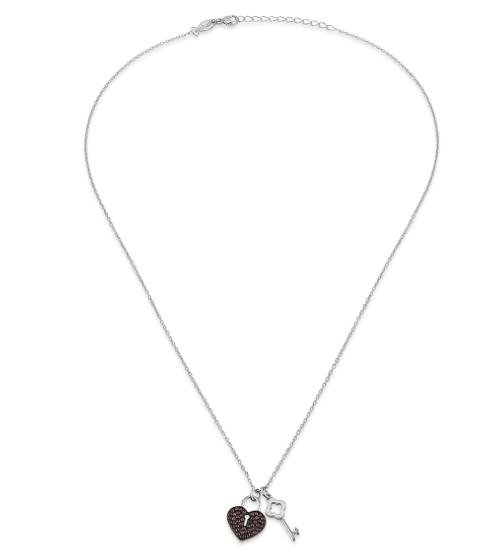 456ebb51655be Heart Lock and Key Smokey CZ 24K White Gold Necklace – Three Blessed ...