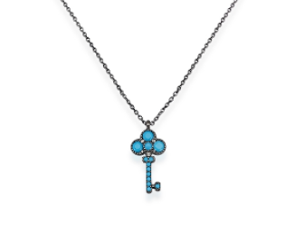 Mini Key Turquoise CZ 24K Gold Necklace