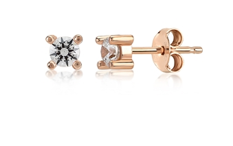 Solitaire CZ 4MM 24K Gold Earrings
