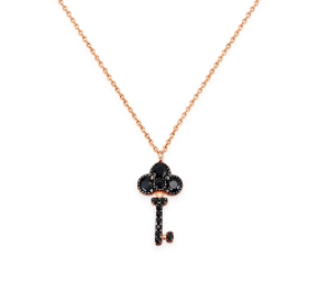 Mini Key Black Spinel 24K Gold Necklace