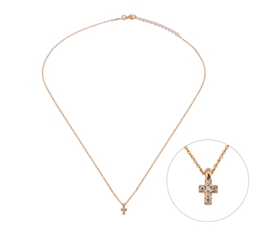 Cross Mini CZ 24K Gold Necklace