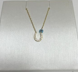 Horseshoe CZ 24K Gold Necklace