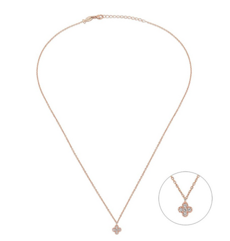 Mini Clover CZ 24K Gold Necklace