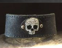 Black Leather W/Pave Shull Bracelet