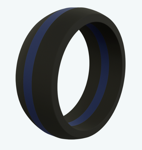 Qalo Thin Blue Line Silicone Ring