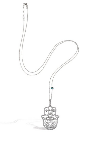 Hamsa 24K White Gold Necklace