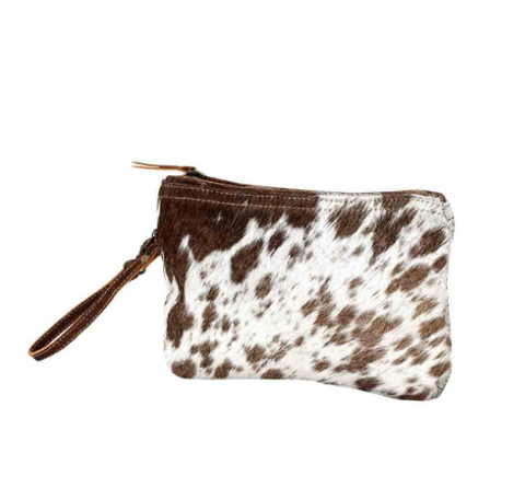 White and Brown Hairon Small Bag