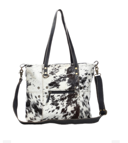 Black & White Shade Hair-on Tote Bag