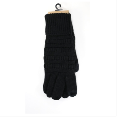Smart Tip Solid Cable Knit CC Gloves