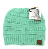 Classic Solid Beanie Tail Knit Messy Bun Hat