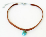 Turquoise Leather Choker Necklace
