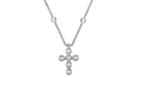 Cross Glint CZ 24K White Gold Necklace