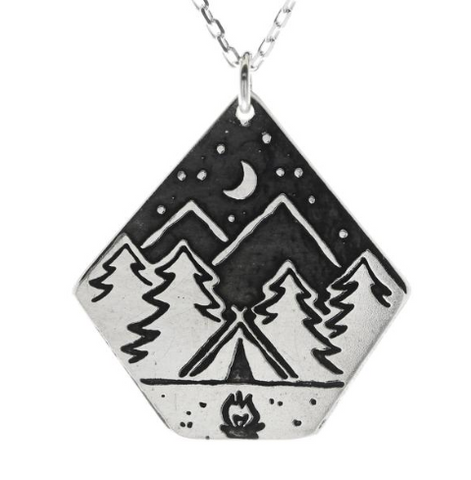 Campfire Night Large Silver Necklace