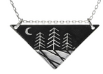 Zen Night Forest Large Triangle Silver Necklace