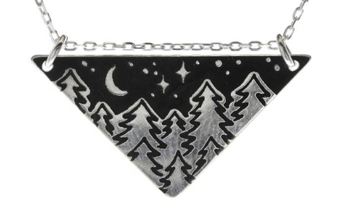Serene Trees Triangle Necklace