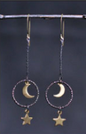 Mixed TrIangle Moon Star Earring