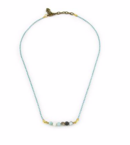Amazonite Bead W/Turquoise Chain Necklace
