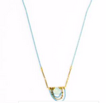 Aqua Chalcedony Drape Turq. Chain Necklace