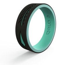 Woman's Strata Black and Aqua Arrow Silicone Ring