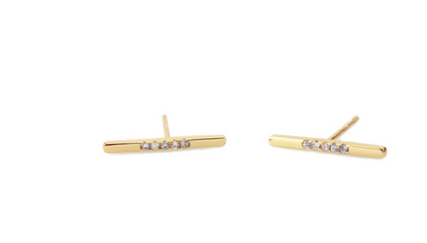 Long Bar Pave Stud Earring