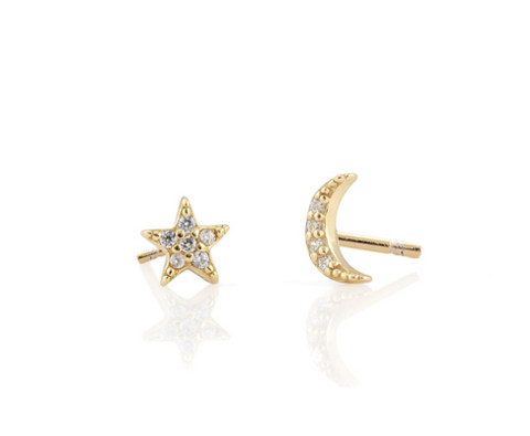 Moon and Star Pave Stud Earring
