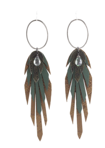 Silver Pluma Leather Earring