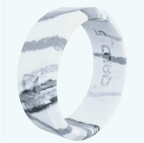 Qalo White Marble Wide Ring