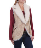 Beige Fur Leather Vest