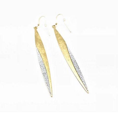 Gold Leaf Long Sparkle Earrings