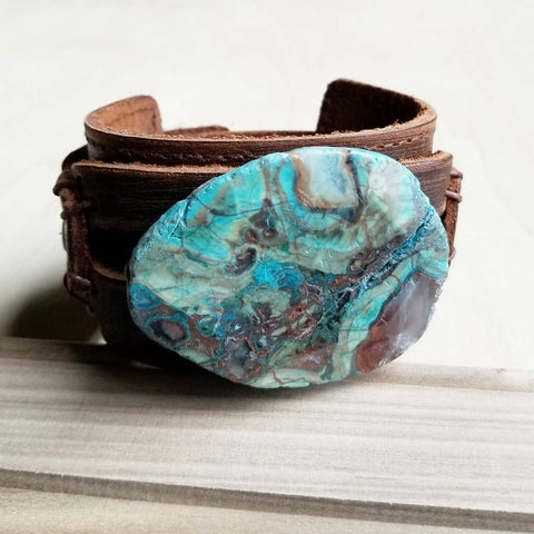 Ocean Agate on Wide Dusty Leather Cuff