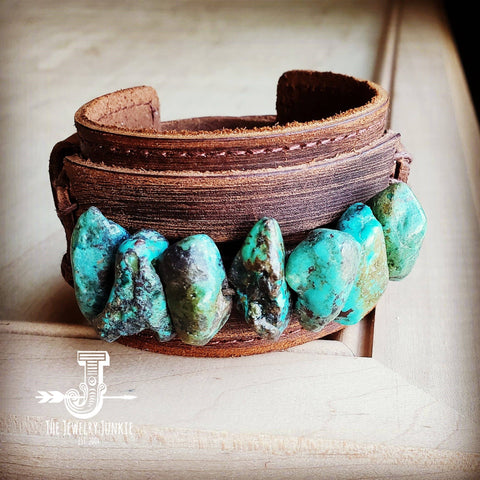 Dusty Leather Wide Cuff with Large Chunks