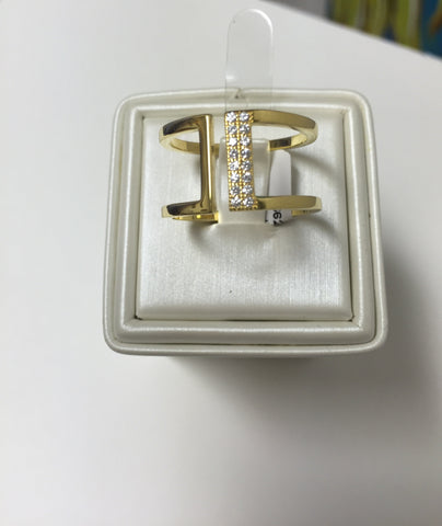 Window CZ 24K Yellow Gold Ring