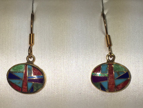 Oval Drop Inlaid Bronze Earrings