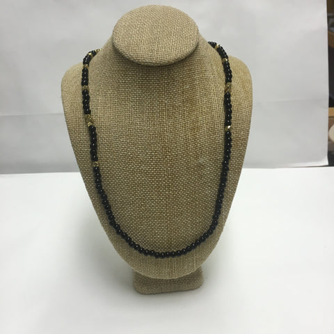Black Bead Gold Long Necklace