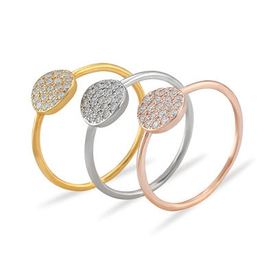Disc Mini CZ 24K Yellow Gold Ring