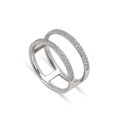 Duo II CZ 24K White Gold Ring