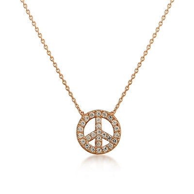 Peace Sign CZ 24K Rose Gold Necklace