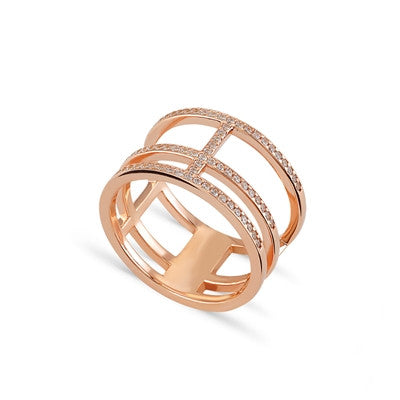 Trio CZ 24K Rose Gold Ring