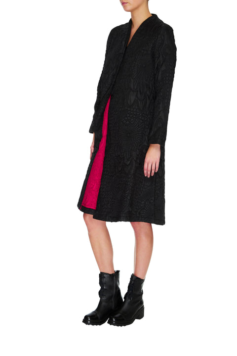 Reef Coat in black and red, black jacket, black coat, 3/4 sleeve jacket, 3/4 sleeve coat, unique jacket, unique coat, designer coat, designer jacket, textured coat, textured jacket, handmade coat, handmade jacket, embroidered coat, embroidered jacket, reversible jacket, reversible coat