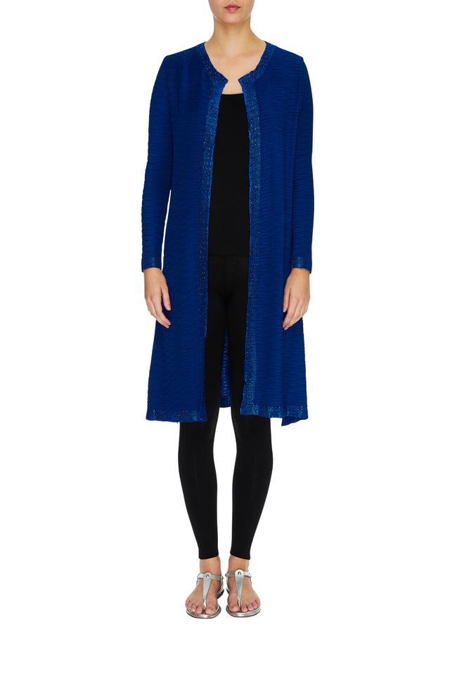 Vestito Coat in royal blue, blue coat, satin coat, pleated coat, designer coat, handmade coat, long coat, long sleeve coat