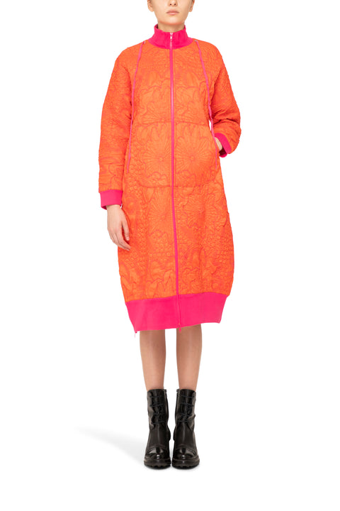 Lampo Coat in Orange Pink, Orange coat, Orange and Pink coat, padded coat, embroidered coat, fashion coat, designer coat, bright coat, unique coat