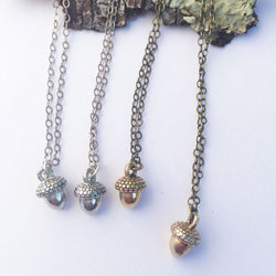 Acorn Charm Necklace - Brass or Silver