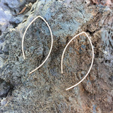 Almond Pull Through Earrings, Minimalist Earrings, Dainty Earrings