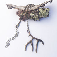Antler Charm Necklace - Bronze