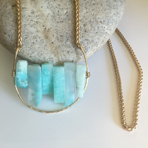Amazonite Wand Golden Crescent Necklace