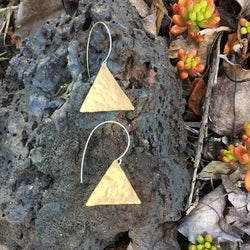 Hammered Triangle Earrings with Sterling Silver Earwire