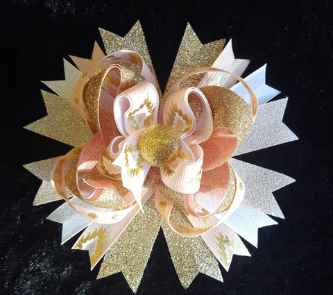 Glitter Gold Bling Hair Bow w/ Peach